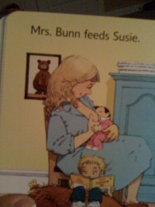 "Mother nursing in the Usborne Book ""The New Baby"""